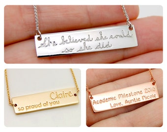 Customizable Necklace for College Graduation Gift, Solid 14K Gold Graduation Necklace for Her, Personalized Gift For Teacher Jewelry Bar