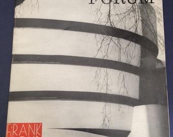 FRANK LLOYD WRIGHT special portfolio 1959 ...  Forum magazine /  mid century modern ... architecture ,  Taliesins, Guggenheim, ...
