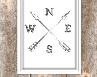 Compass wall art, Compass Printable Art, NWES, poster compass printable, cardinal directions, 8x10 Compass, Instant Download - Jpeg
