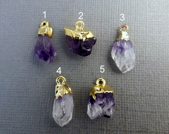 Amethyst Point Pendant - High Quality Mexican Raw Amethyst with gold electroplated cap -You Choose (LOT G-1677)