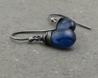 Blue Kyanite Earrings Gemstone Drop Oxidized Sterling Silver Gift for Her Bright Blue Jewelry