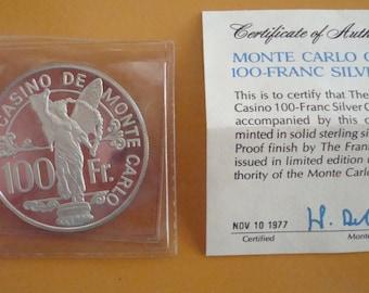Monte-Carlo-Casino-100-Franc-Silver-Chip-Coin-1977-Franklin-Mint-Round