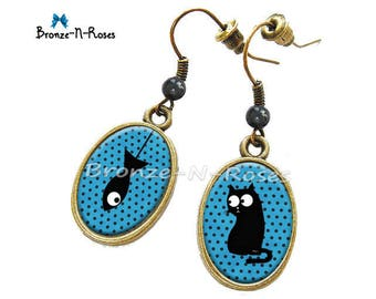 "Earrings ""Black cat and blue polka-dots"" fantasy glass cabochon bronze jewelry"