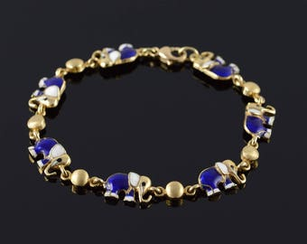 14k Blue White Enamel Elephant Republican Link Bracelet Gold 7.25""