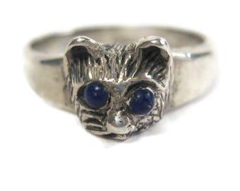 Vintage Sterling Lapis Cat Ring Size 7