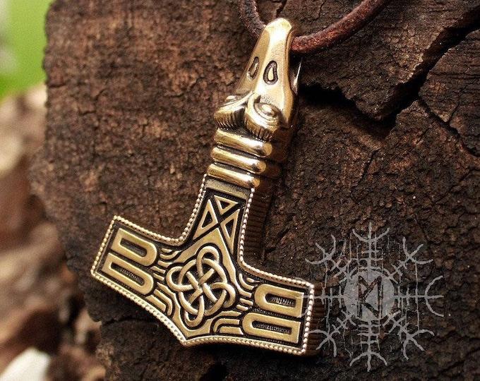 Bronze Mjolnir Thor Hammer Avian Eagle Head Viking Nordic Pendant Necklace BM6
