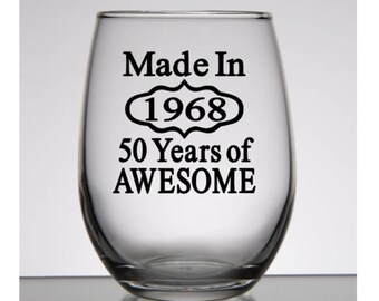 50th birthday wine glass 50th birthday gift 50th birthday