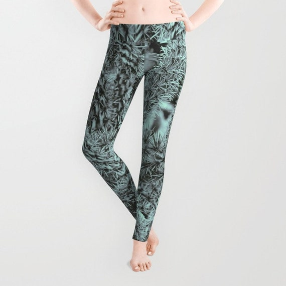 Cactus Leggings, Mint Green Yoga Pants, Halloween, Spiky Yoga Leggings, Women, Teen Active Wear, Running Pants, Jogging Pants, Surf