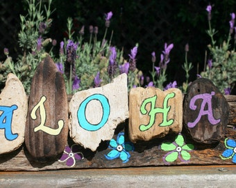 ALOHA Driftwood Plaque with plumeria themed flowers and bright blues, purples, and greens, Hawaiian decor (Made to Order)