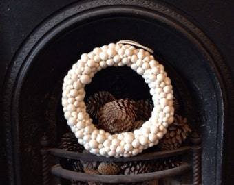 White Felt Ball Wreath 35cm