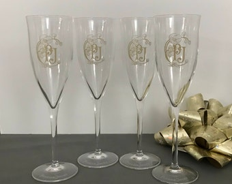 Set of 4 Champagne Flutes, Champagne Glasses, Perrier Jouet PJ, Toasting Glasses, Wedding, French Crystal Stemware