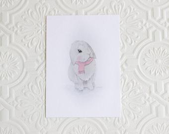 Cute Bunny art print, Nursery art print, Nursery decor, Wall decor
