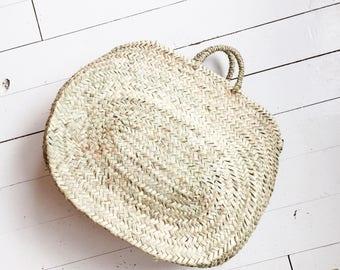 Vintage berber raffia sisal jute woven basket hippie bohemian beach bag