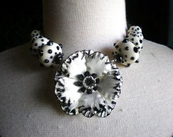 20% OFF SALE Polka Dot Style - Vintage Flower Brooch Lampwork Beads - Necklace
