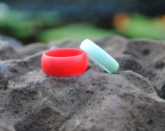 Fit Ring 2 pack, 1 for her, 1 for him. Couple's Gift, Silicone Wedding Ring. Pick your size and color! Gift idea, Rubber Engagement band