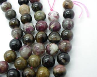 15 tourmaline 6 mm natural pink tourmaline, beige, marble