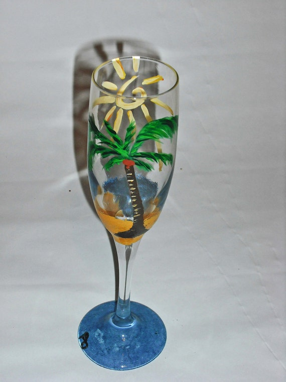 Life's A Beach champagne flutes