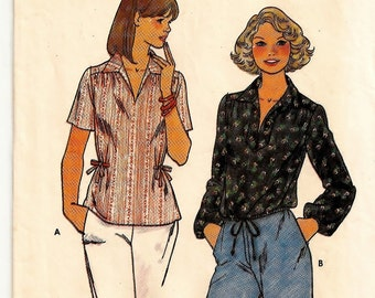 "A Short or Long Sleeve, Pointed Collar, Drawstring Hem or Side Tie Blouse Sewing Pattern for Women: Size 10, Bust 32-1/2"" • Butterick 6038"