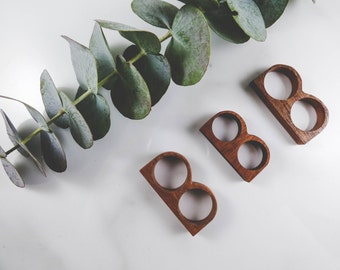Hand Carved Wood Ring • Double Finger •