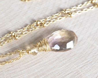 Ametrine Necklace, Gold Filled, Amethyst and Citrine, Dainty Necklace, Birthstone Necklace,  Natural Gemstone, Lavender and Honey