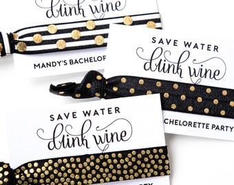 Wine Tour Hair Tie Favors | Wine Tour Bachelorette Favors, Hot Pink Black Gold Wine Tasting Bachelorette Favors, 21st Birthday 30th Birthday