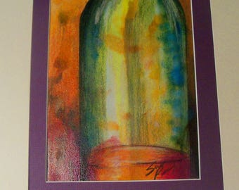 SALE original art painting wine bottle abstracts 11x14