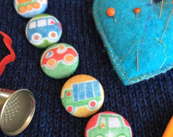 Cars and Trucks Buttons- Set of 5 Handmade Fabric Buttons