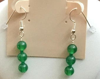 Green Quartz Earrings With Sterling Silver Ear Wires
