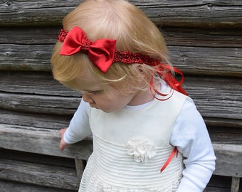 Baby Head Bow Headband, Red Bow Headband, Baby Headband, Baby Head Bows, Newborn Headband, Baby Girls Headband, Red Bow, Baby Hair Bows