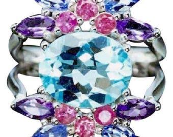 Sky Blue Topaz Tanzanite Amethyst .925 Sterling Silver Ring 6.25