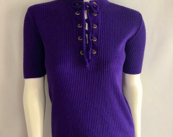 Vintage Women's 70's Boho, Purple, Short Sleeve, Knit, Top (S)