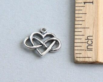 Heart Charm, Infinity Charm, Infinity Heart Charm, Infinity Love Charm, Oxidized Infinity Heart Charm, Sterling Silver Heart, 15mm( 1 piece)