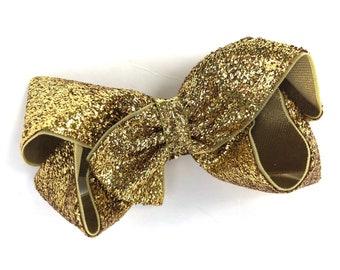 Gold glitter hair bow - hair bows, bows, hair bows for girls, baby bows, toddler hair bows, girls bows, gold bows, pigtail bows, hairbows