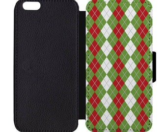 Christmas Argyle Festive Holiday Print Pattern Leather Flip Wallet Case Apple iPhone 5 5S SE 6 6S 7 7S 8 8S X Plus