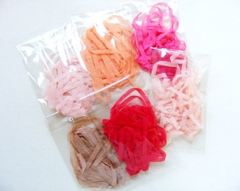 Vintage French Silk Ribbon 1/4 Inch 30 yards Pink Peach Red Taupe