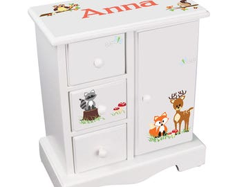 Personalized Girls Jewelry Armoire with Woodland Wood Land Animals Coral ?Jewelry Box Chest w drawers Deer Fox Owl Design jewee-whi-218