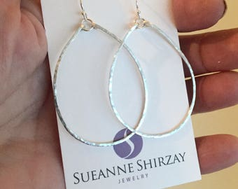 Silver Hammered Hoops, Oval Hoops, Medium Hoops, Hoop Earrings, Olivia Hammered Hoop Earrings in Sterling Size: Medium