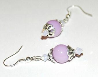Joyful - purple and white earrings