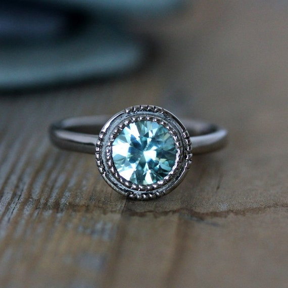 custom engagement rings light blue diamond ring
