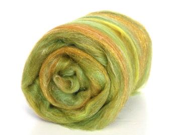 Fields of Gold Carded Batt Merino Silk & Sparkle for Spinning or Felting 100g