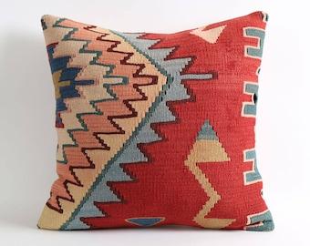 20x20 red handwoven pillow case, wool pillow, mexican tribal, home décor, cushion, aztec, navajo pillows, rug pillow, kilim pillows