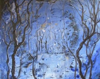 Darkpool - Deep blue splash painting with trees