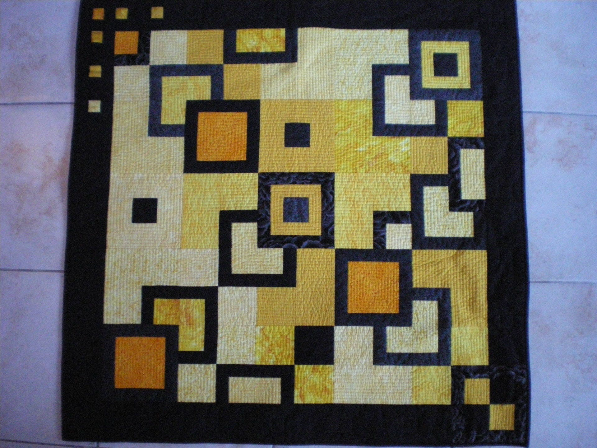 quilting blanket or wall hanging modern yellow and black