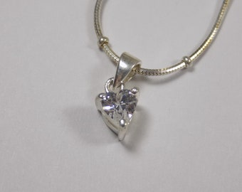 Beautiful sterling silver cz heart pendant with sterling necklace 16 inches long