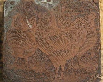 Vintage Wooden Rooster-Inspired Ink Stamp