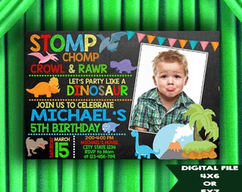Dinosaur Invitation, Dinosaur Birthday Invitation,  Dinosaur Printable Invitation, Dinosaur Birthday Invitation with Photo