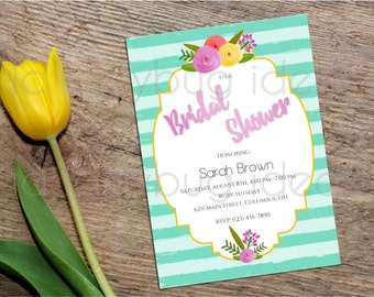 Floral Watercolor and Stripes Printable Bridal Shower Invitation,Wedding Invitation