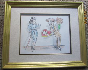 Caricature of Charley Chase and Ann Doran, from comic shorts of the 1930's