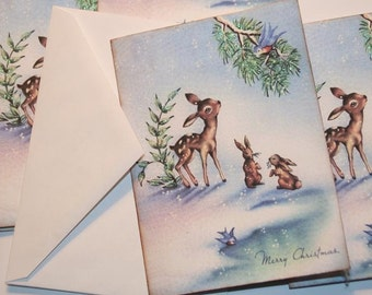Christmas Card Set with envelopes,Blank inside, Woodland Baby Deer, Vintage Old Fashion Christmas Cards with Glitter