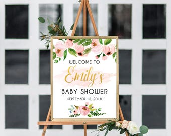 Baby shower welcome sign, Welcome to baby shower sign, baby shower welcome sign floral, girl baby shower sign, printable welcome sign